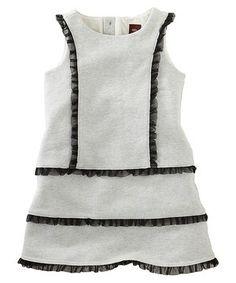 Look at this #zulilyfind! White & Black Ruffle Shift Dress - Toddler & Girls by Tea #zulilyfinds