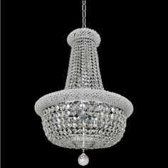 Allegri 20971 Napoli 15 Light 25 Wide Empire Chandelier with Crystal Accents, Silver