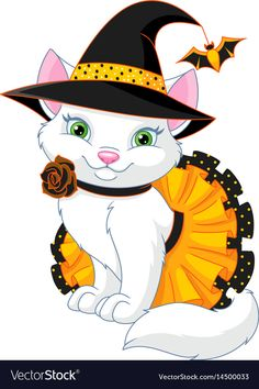 Cat in witch costume for halloween isolated on white background Boo Halloween, Moldes Halloween, Halloween Canvas, Manualidades Halloween, Halloween Drawings, Halloween Clipart, Halloween Pictures, Halloween Signs, Halloween Backgrounds