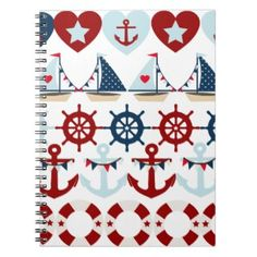 Summer Nautical Theme Anchors Sail Boats Helms Spiral Notebook