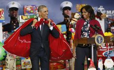 U.S. First Lady Michelle Obama smiles as U.S. President Barack Obama arrives with sacks of toys and gifts from the Executive Office of the President staff to donate to the Marine Corps Toys for Tots Campaign in Washington December 10, 2014. (REUTERS/Kevin Lamarque)  via @AOL_Lifestyle Read more: https://www.aol.com/article/news/2017/02/11/harvard-professor-who-taught-obamas-michelle-should-have-been-president/21712038/?a_dgi=aolshare_pinterest#fullscreen