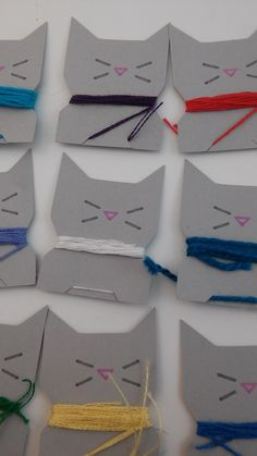Free PDF to print (and cut) your own Cat Embroidery Floss Bobbins/Spools @ Look What Rachel Made