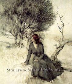 Girl Beside a Stream ~ Arthur Rackham ~ Cross Stitch Pattern #StoneyKnobFarmHeirlooms #Frame