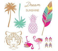 Tatouages plume, palmier, flamanrose, ananas, multicolor, Tem