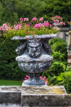Flower pot along the back terrace of Westbury Mansion at  Old Westbury Gardens, Old Westbury, NY (09/04/2015)