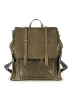 The Bridge Ascott Olive Green Leather Backpack