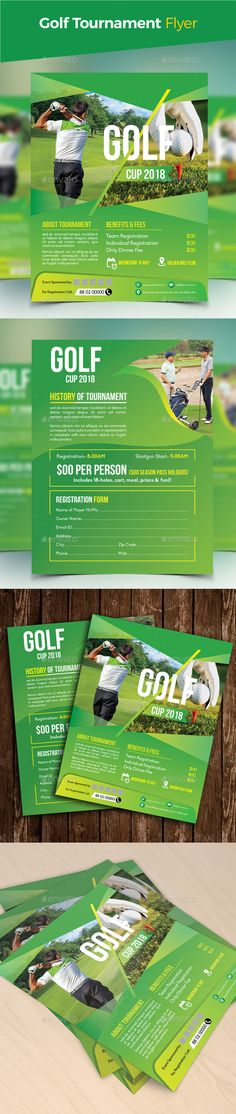 "Golf Tournament Flyer by design_station SPECIFICATIONS:Size: 8.5""x11"" Bleed: .125"" Three color variationsFully editable Illustrator AI & EPS file Color mode: CMYK Files I"
