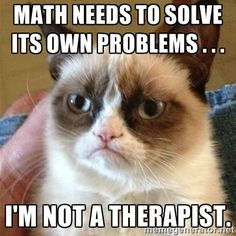 Math needs to solve its own problems . . . I'm not a therapist. - Grumpy Cat | Meme Generator
