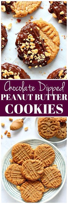 Chocolate Dipped Peanut Butter Cookies Recipe - flourless cookies made with 3 ingredients, dipped in chocolate and chopped peanuts. Soft, chewy and delicious!