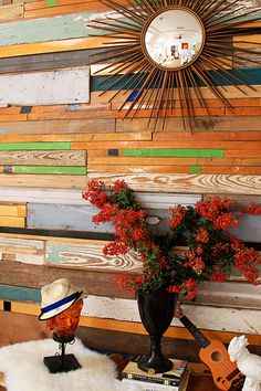 repurposed/reclaimed colorful boards
