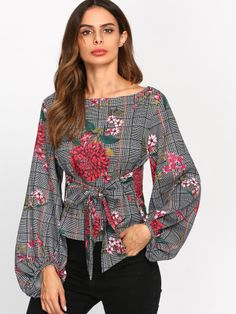 SheIn offers Exaggerated Lantern Sleeve Belted Mixed Print Blouse & more to fit your fashionable needs. Blouse Styles, Blouse Designs, Tie Blouse, Women Sleeve, Printed Blouse, Floral Blouse, Types Of Sleeves, Blouses For Women, Fall Outfits