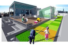 green roof - concept: new room on east (front) of bldg, green roof & patio in middle to west (back) of bldg