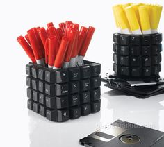 Pen cups made out of old computer keys, terrific. #black #office #work