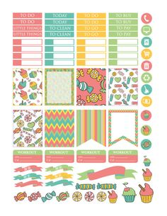 Candy Planner Stickers Printable Erin by PrintThemAllStudio