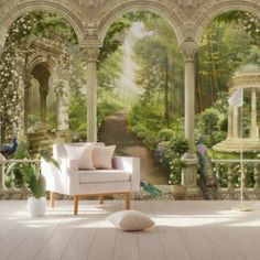 Column Wallpaper Forest Way Wall Mural Byzantine Columns Wall Print Living Room Hallway House Paint Interior, Interior Design, Reproductions Murales, Cottage Shabby Chic, Wallpaper Size, Wall Wallpaper, House Front Design, House Painting, Wall Prints