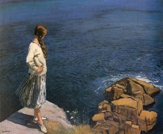 At The Edge Of The Cliff by Dame Laura Knight