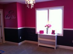 "Hot pink & black girl's room.   (The top is Behr ""Tuti-Fruti"" and the bottom is chalk board paint.)"