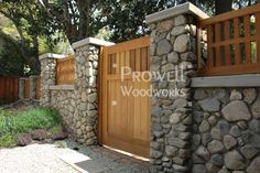 custom wood garden gates and stone walls in Claremont, CA Stone Driveway, Stone Fence, Concrete Fence, Compound Wall Design, Boundary Walls, Craftsman Exterior, Masonry Wall, Garden In The Woods, Backyard