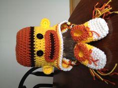 Candy Corn Sock Monkey Crochet Hat