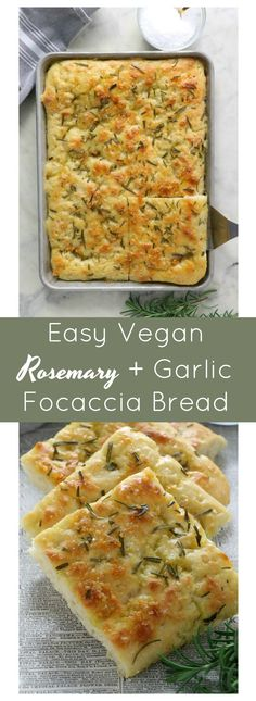 Easy Vegan Rosemary and Garlic Focaccia Bread - Eat. Drink. Shrink. Veggie Meals, Veggie Recipes, Vegetarian Recipes, Vegan Bread, Easy Bread, Healthy Eating Recipes, Some Recipe, Food Hacks, Plant Based