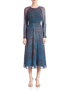 L.K. Bennett Addison Abstract Printed Dress - Blue- - Size 8