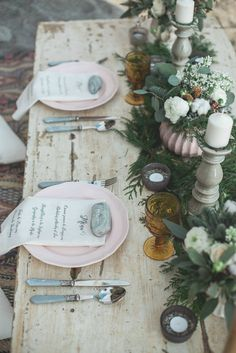 Boho chic winter wedding table decor