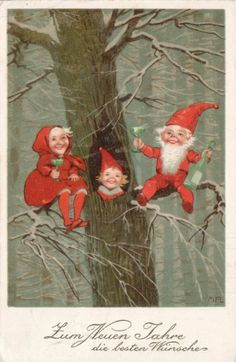 gnomes family in a tree by Marie Flatcher.