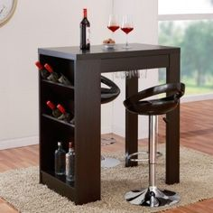 This urban bar table adds a sophisticated touch to your home decor as well as stylish storage space for your wine and stemware. Constructed of glass, MDF and veneer, this cappuccino bar table is an id Patio Bar Set, Pub Table Sets, A Table, Wine Table, Home Bar Furniture, Furniture Deals, Modern Furniture, Brown Furniture, Online Furniture