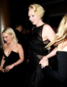 """lordsnow: """" Emilia Clarke and Gwendoline Christie at the 2018 Golden Globes. """""""