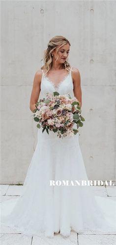 Sheath V-neck Sleeveless Light Ivory Lace Long Wedding Dresses, – RomanBridal Long Wedding Dresses, Cheap Wedding Dress, Lace Wedding, How To Make Shoes, Simple Weddings, Dream Dress, Dress Making, Bodice, Fashion Dresses