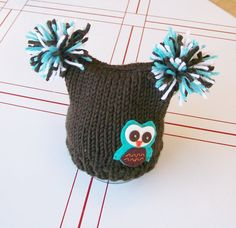 Newborn knit owl hat baby photo prop hat for baby by LoveyChild, $22.00