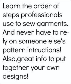 sew country chick:  Order of garment construction