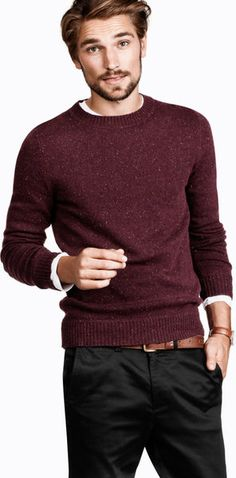 H knitted marl wool jumper with imitation suede elbow patches.