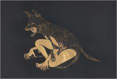Gold Hyena, 2010 by Fay Ku. Metallic watercolor on black Stonehenge paper