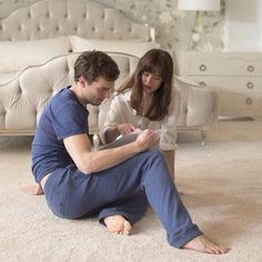 Jamie Dornan and Dakota Johnson #FiftyShades #BehindtheScenes