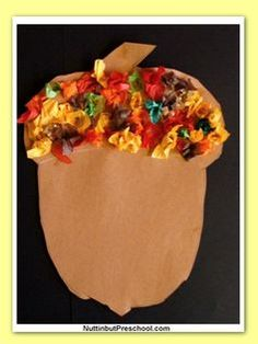 Acorn Tissue Paper Art with Pattern- Tissue paper art is so easy, and the kids love it! Make a construction paper acorn and have the kids decorate the top! Preschool Projects, Daycare Crafts, Classroom Crafts, Preschool Art, Toddler Crafts, Preschool Fall Theme, Easy Fall Crafts, Fall Crafts For Kids, Thanksgiving Crafts