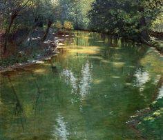 "centuries-and-continents: "" Antonín Hudeček (Czech, Stream in Sunshine, "" Landscape Art, Landscape Paintings, Seascape Art, Water Reflections, Seen, Paintings I Love, Art Studies, Artist Art, Painting Inspiration"