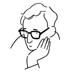 Woody Allen #yunagaba Art And Illustration, Illustrations And Posters, Character Illustration, Graphic Design Illustration, Woody Allen, Line Drawing, Painting & Drawing, Black And White Doodle, Ligne Claire