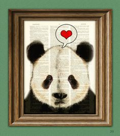 I LOVE YOU PANDA Bear beautifully upcycled vintage by collageOrama, $6.99