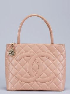 peach caviar leather CC quilted vintage shopping tote