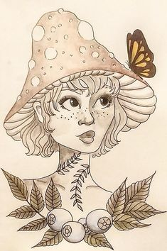 print of my mushroom girl. This listing is for an actual print the original piece was done with pen and ink and watercolor. Fairy Drawings, Dark Art Drawings, Pretty Drawings, Art Drawings Sketches, Mushroom Drawing, Mushroom Art, Sketchbook Cover, Arte Sketchbook, Cat Pattern Wallpaper