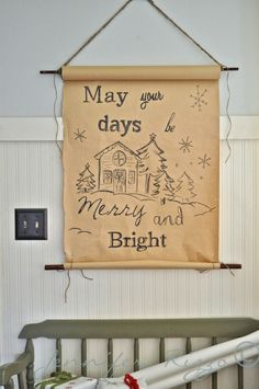 How to make a hanging butcher paper roll dispenser with a hand-lettered christmas greeting. Noel Christmas, Christmas Greetings, All Things Christmas, Winter Christmas, Country Christmas, Christmas Signs, Simple Christmas, Christmas Presents, Christmas Ideas