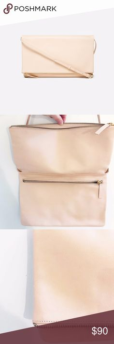"""The Foldover Crossbody Everlane - Natural 4"""" H × 12"""" W 100% Spanish leather Adjustable leather strap for a 17–23"""" shoulder drop Gold zippers Unlined Everlane Bags Crossbody Bags"""