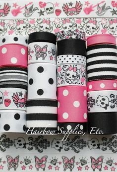 20 Yd Pink Glam Skulls Grosgrain Ribbon Lot by HairbowSuppliesEtc