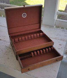 Vintage Wood Anti Tarnish Silverware Flatware Storage Box Case Chest W/  Drawer
