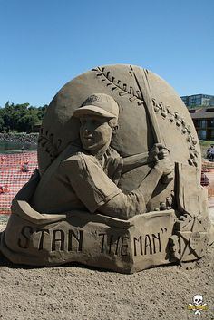"""STAN """"THE MAN"""" Sand Sculpture                                        Stan Musial • St. Louis Cardinals • 1941-1963    Including a 2 year hiatus from 1945-46, for service in the Navy in World War II. He's """"The Man""""! Gracie Lynn