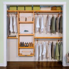 Add elegance and style to your closet with this John Louis Home Premier Closet Organizer; Designed for large reach-in and walk-in closets, the organizer is crafted of solid wood and includes four deep drawers. Deep Closet, Closet Rod, Closet Storage, Walk In Closet, Closet Organization, Front Closet, Organization Ideas, Storage Ideas, Wire Shelving