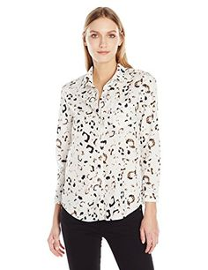 Calvin Klein Jeans Women's Leopard Print Easy Boyfriend Button Down Shirt - http://www.darrenblogs.com/2017/03/calvin-klein-jeans-womens-leopard-print-easy-boyfriend-button-down-shirt/
