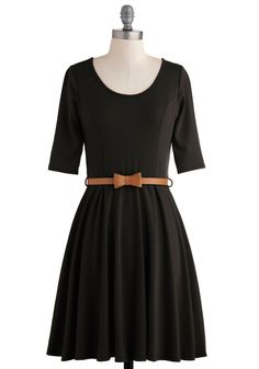 Abiding Beauty Dress - Short, Black, Solid, Belted, A-line, 3/4 Sleeve, Fall, Bows, Casual