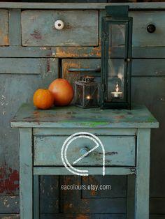 Duck Egg Blue cupboard, nightstand, vintage milk paint, chalk paint, farmhouse, distressed chippy paint.